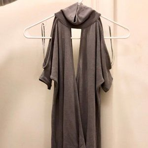 Costa Blanca Gray Cold Shoulder Surplice Top
